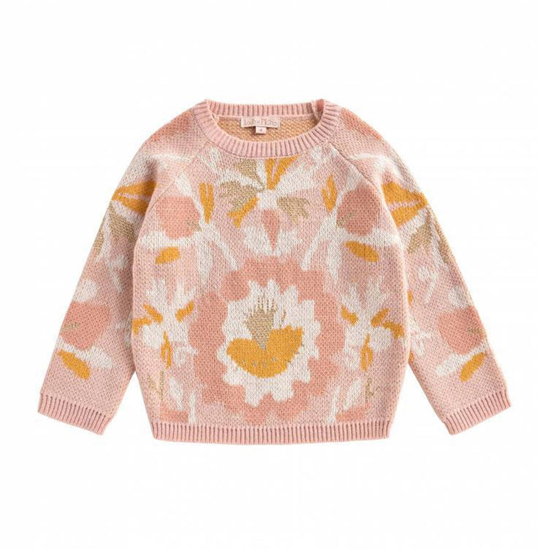 Pink Abstract Floral Girls Pullover