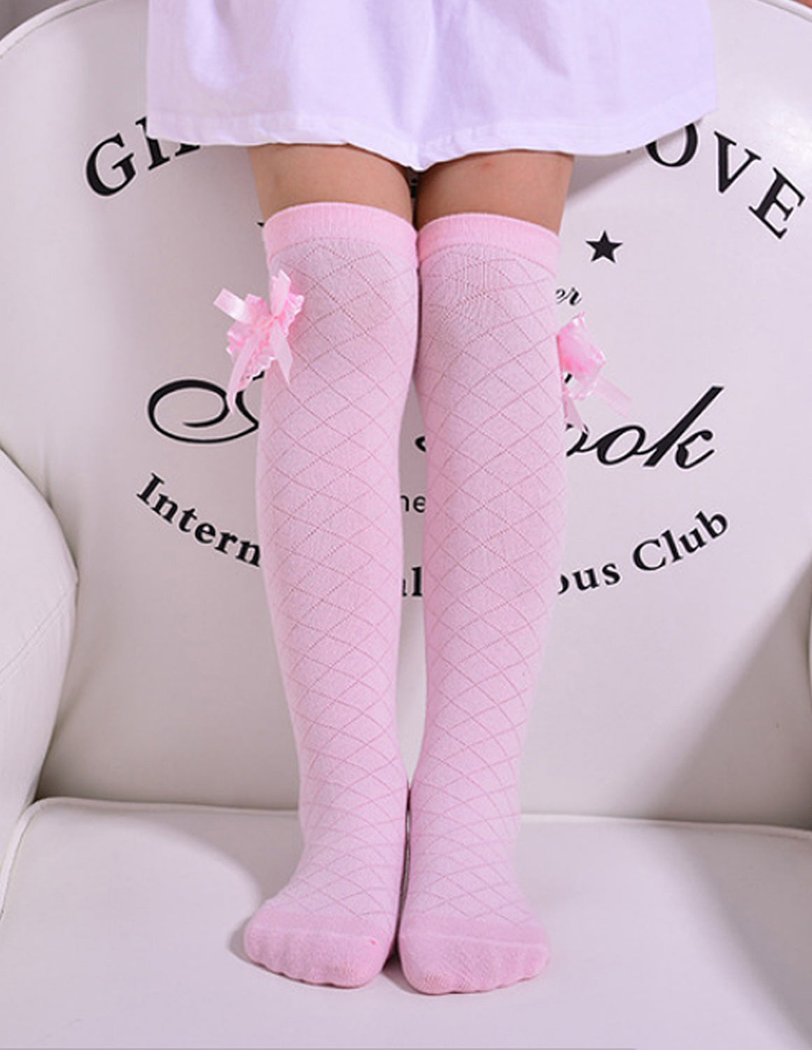 Diamond Weave Over-the-Knee Bow Socks | Pink
