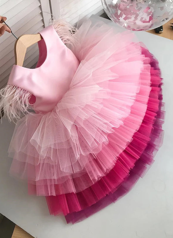 PINK LAYERED GIRLS PARTY DRESS