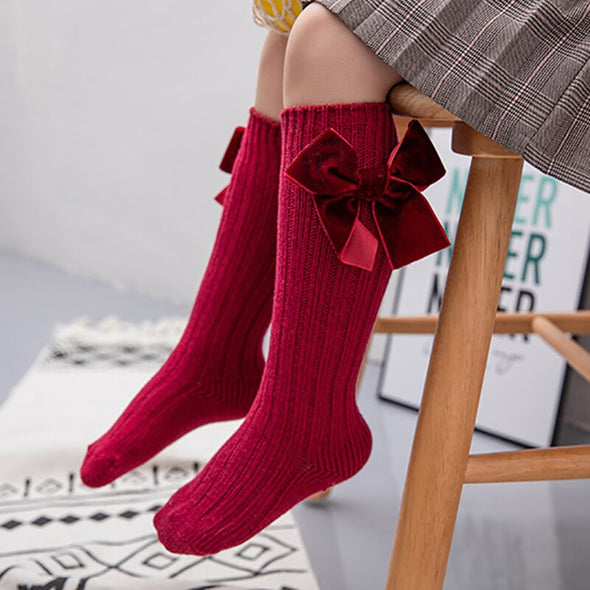 Velvet Bow Knee Socks | Burgundy