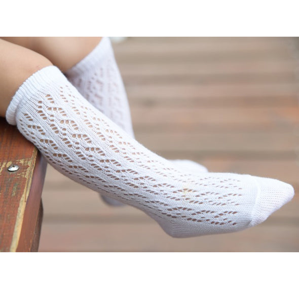 White Cotton Crochet Girls Knee Socks