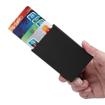 Aluminium Slim Credit Card Holder RIFD Card Protector One Click All Cards Slide Out