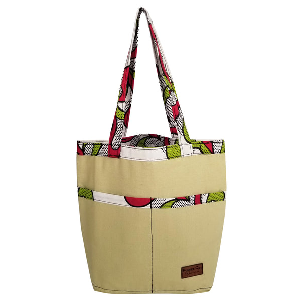 "Heavy Duty Canvas with Ankara Trim and Lining Tote Bags with Bottom Gusset (14""X12.5""X4"") Inches"