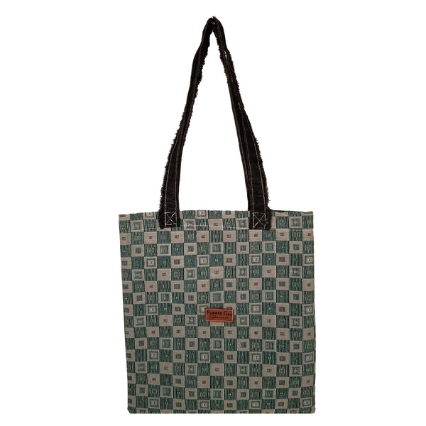 "Block Print with Contrast Stitched Denim Back and Handles Tote Bag (14.5""X13"") Inches"