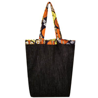 "Heavy Duty Denim with Ankara Trim and Lining Tote Bags with Bottom Gusset (16""X16""X4.5"") Inches"