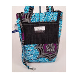 "Heavy Duty Denim with Ankara Trim and Lining Tote Bags with Bottom Gusset (14""X14""X4.5"") Inches"