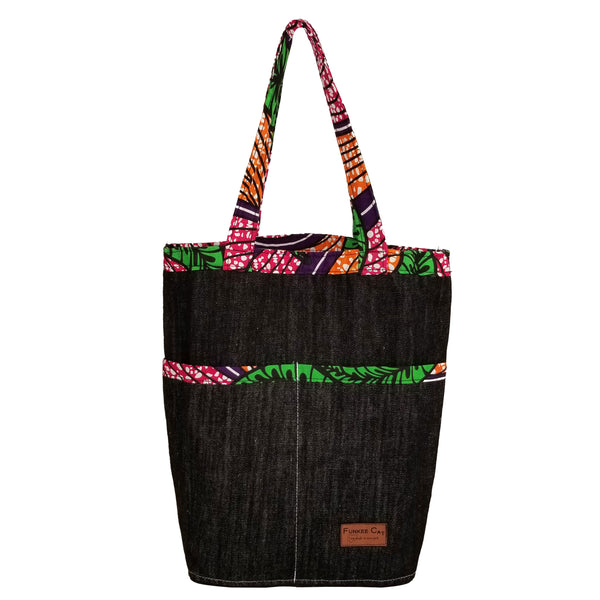 "Heavy Duty Denim with Ankara  Trim and Lining Tote Bags with Bottom Gusset (13.5""X14.5""X5"") Inches"
