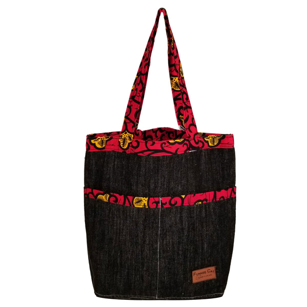 "Heavy Duty Denim with Ankara Trim and Lining Tote Bags with Bottom Gusset (14""X13""X4"") Inches"