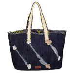 "Denim with Netting and Ankara Heavy Duty Tote Bags with Curved Bottom Gusset (20.5""X14""X5"") Inches"