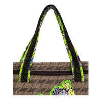 "Motherbird Brocade with Ankara Trim Font Zipper Tote Bags with Curved Bottom Gusset (17""X17""X5"") Inches"