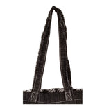 "Metallic Black with Contrast Stitched Denim Back and Handles Tote Bags (14.5""X13"") Inches"