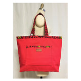 "Heavy Duty Canvas with Ankara Trim and Lining Tote Bags with Bottom Gusset (19""X13""X5"") Inches"