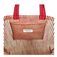 "Frosted Waterproof Plastic with Multi-color Felt Stripes large Beach tote bag with Bottom Gusset (22""x14.5""x5"") Inches"