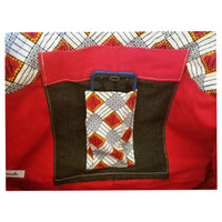 "Peace Heavy Duty Denim with Ankara Trim & lining Tote Bags with Curved Bottom Gusset (21""X14""X5"") Inches"