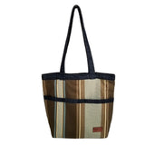 "Heavy Duty Stripe with Denim Trim and Lining Tote Bag with Bottom Gusset (16""X14""X4.5"") Inches"