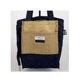 "Heavy Duty Velvet Stripe with Denim Trim and Lining Tote Bag with Bottom Gusset (16""X13.5""X4.5"") Inches"