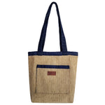 "Heavy Duty Velvet Stripe with Denim Trim and Lining Tote Bag with Bottom Gusset (14""X14""X4"") Inches"