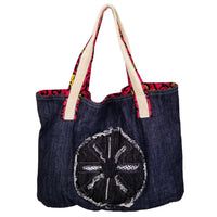 "Wheel Heavy Duty Denim with Ankara Trim and Lining Tote Bags with Curved Bottom Gusset (21""X14""X5"") Inches"