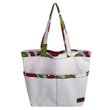 "Heavy Duty Canvas with Ankara Trim and Lining Tote Bags with Bottom Gusset (16""X13""X4.5"") Inches"