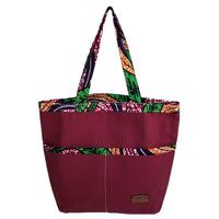 "Heavy Duty Canvas with Ankara Trim and Lining Tote Bags with Bottom Gusset (15.5""X13.5""X4.5"") Inches"