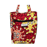 "Heavy Duty Canvas with Ankara Trim and Lining Tote Bags with Bottom Gusset (13.5""X14.5""X4.5"") Inches"