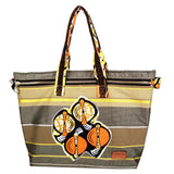 "Multi-color Stripe with Ankara Trim Font Zipper Tote Bags with Curved Bottom Gusset (20""X13.5""X6"") Inches"