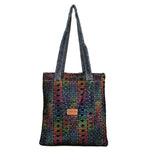 "Netting and Tribal Spandex, with Contrast Stitched Denim Handles Tote Bag (14.5""X13"") Inches"