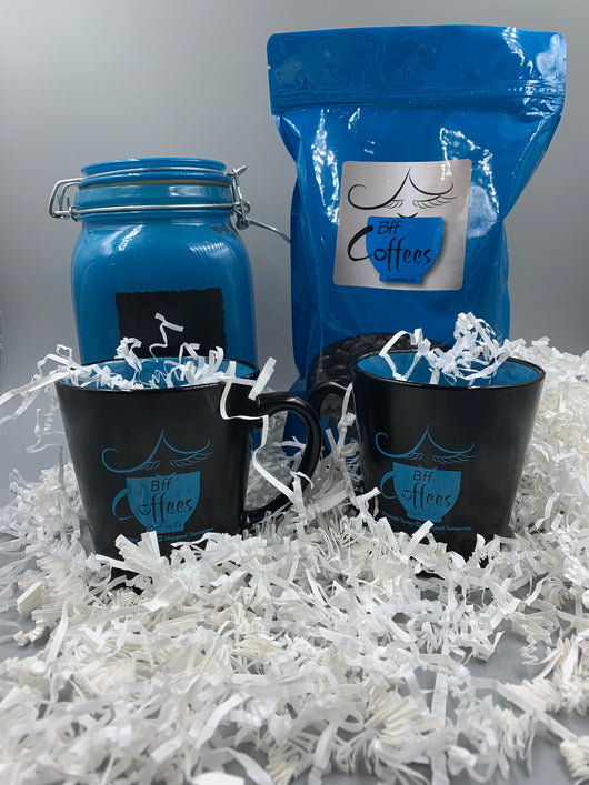 Bff Coffees Gift Set (Includes 2 mugs, small canister, and fresh roasted coffee)