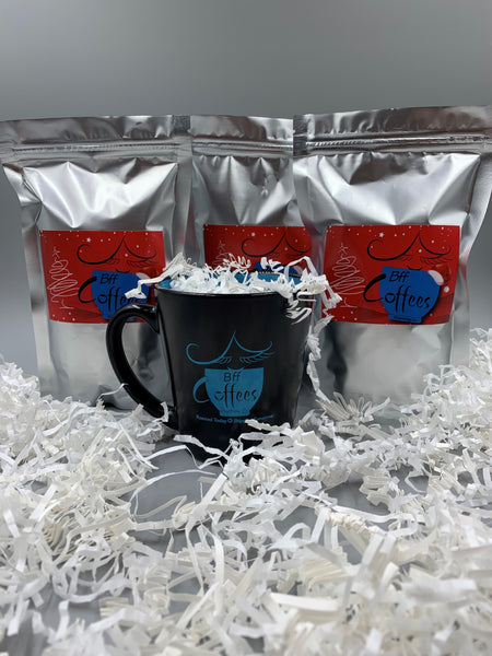 Holiday Gift Set (Includes a Bff mug, and 3 samples of fresh roasted coffee)