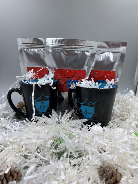 Holiday Gift Set (Includes 2 Bff mugs, and 3 sample packs of fresh roasted coffee)