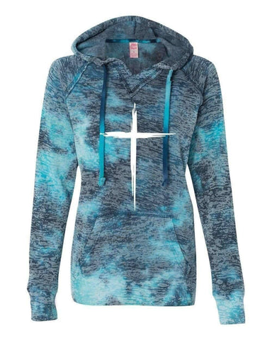 Hoodie - Cross Women's Christian V-Notch Sweatshirt Bahama Blue Hoodie