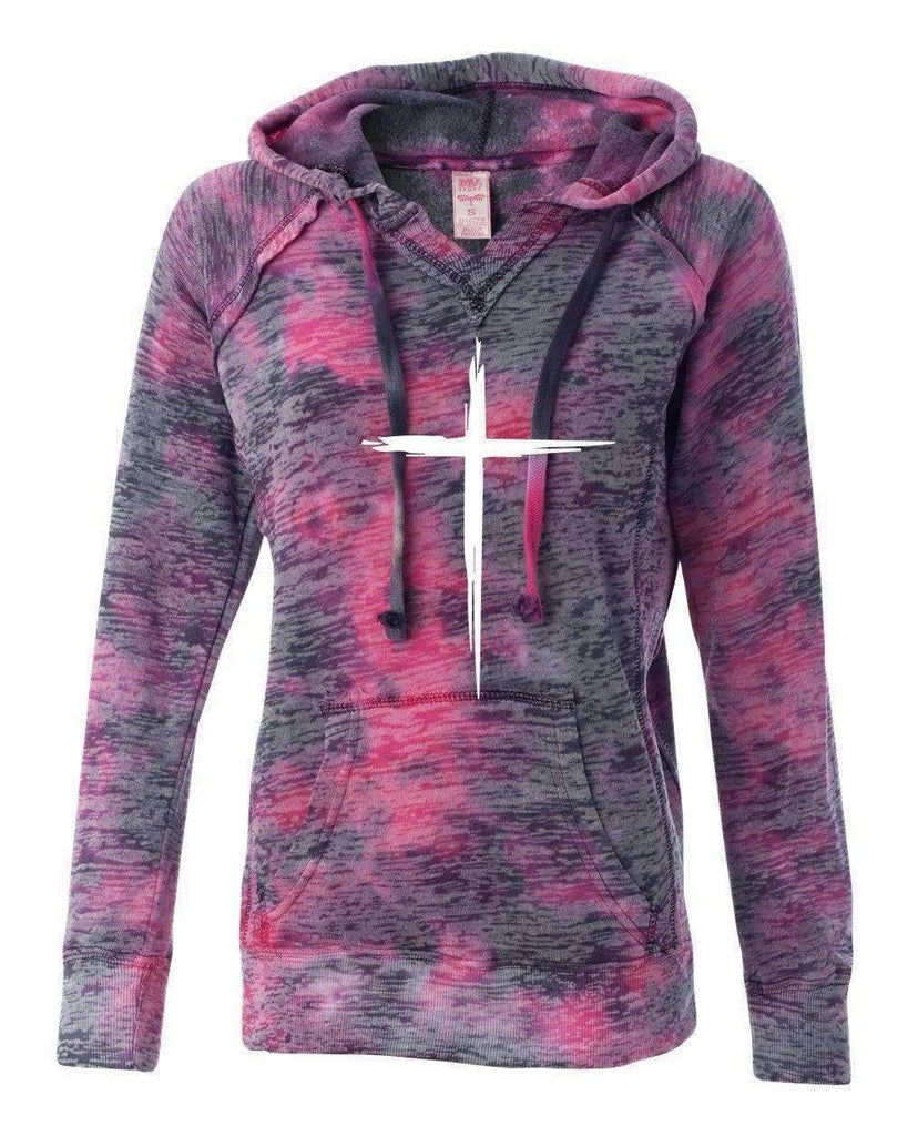 Hoodie - Cross Women's Christian V-Notch Sweatshirt Raspberry Swirl Hoodie