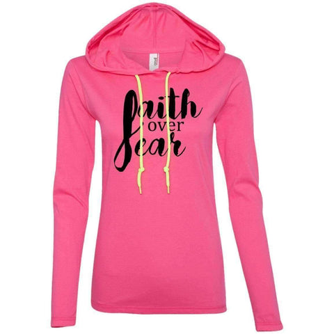 Image of Hoodie - Faith Over Fear Women's Christian Fitted T-Shirt Hoodie