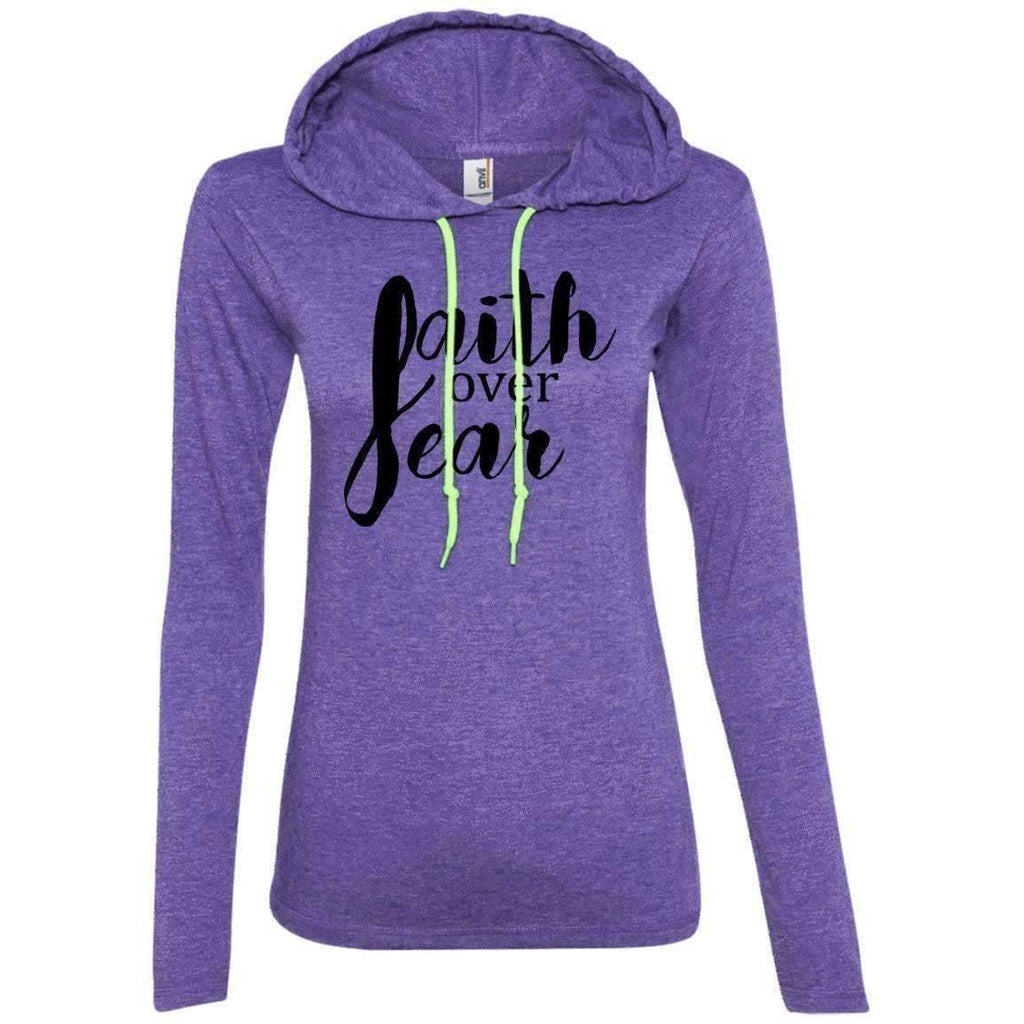 Hoodie - Faith Over Fear Women's Christian Fitted T-Shirt Hoodie