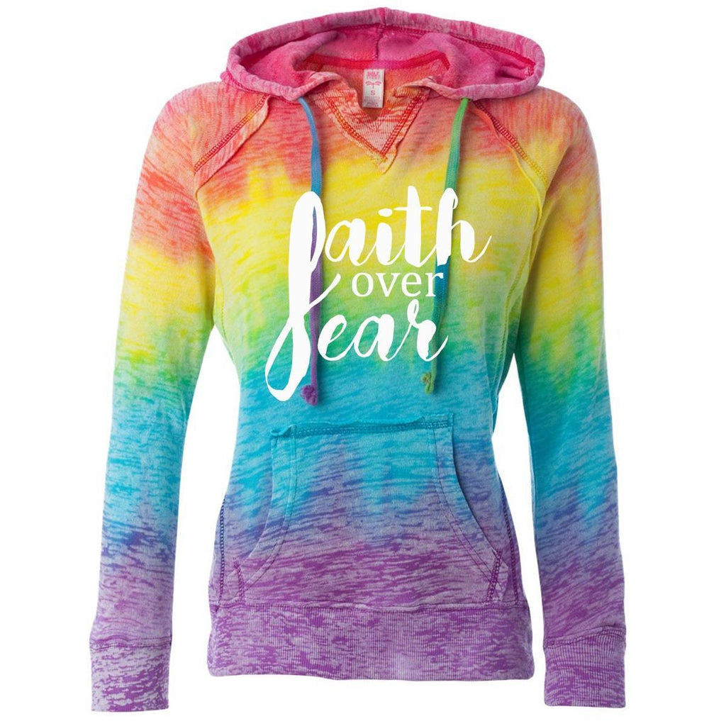 Hoodie - Faith Over Fear Women's Christian V-Notch Sweatshirt Rainbow Stripe Hoodie