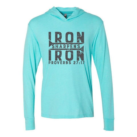 Image of Hoodie - Iron Sharpens Iron Christian Tri-Blend Unisex T-Shirt Hoodie