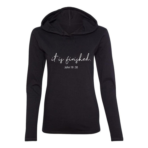 Hoodie - It Is Finished Women's Christian Fitted T-Shirt Hoodie
