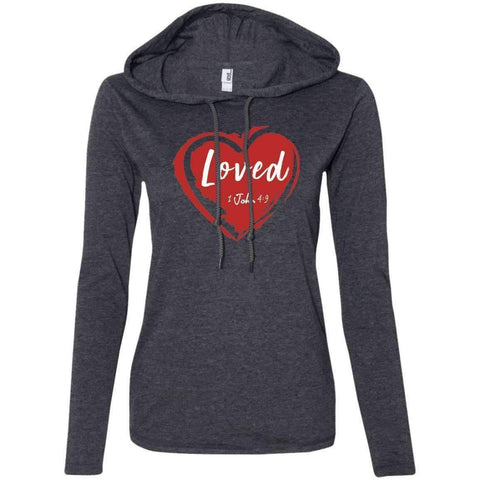 Image of Hoodie - Loved Women's Christian Fitted T-Shirt Hoodie