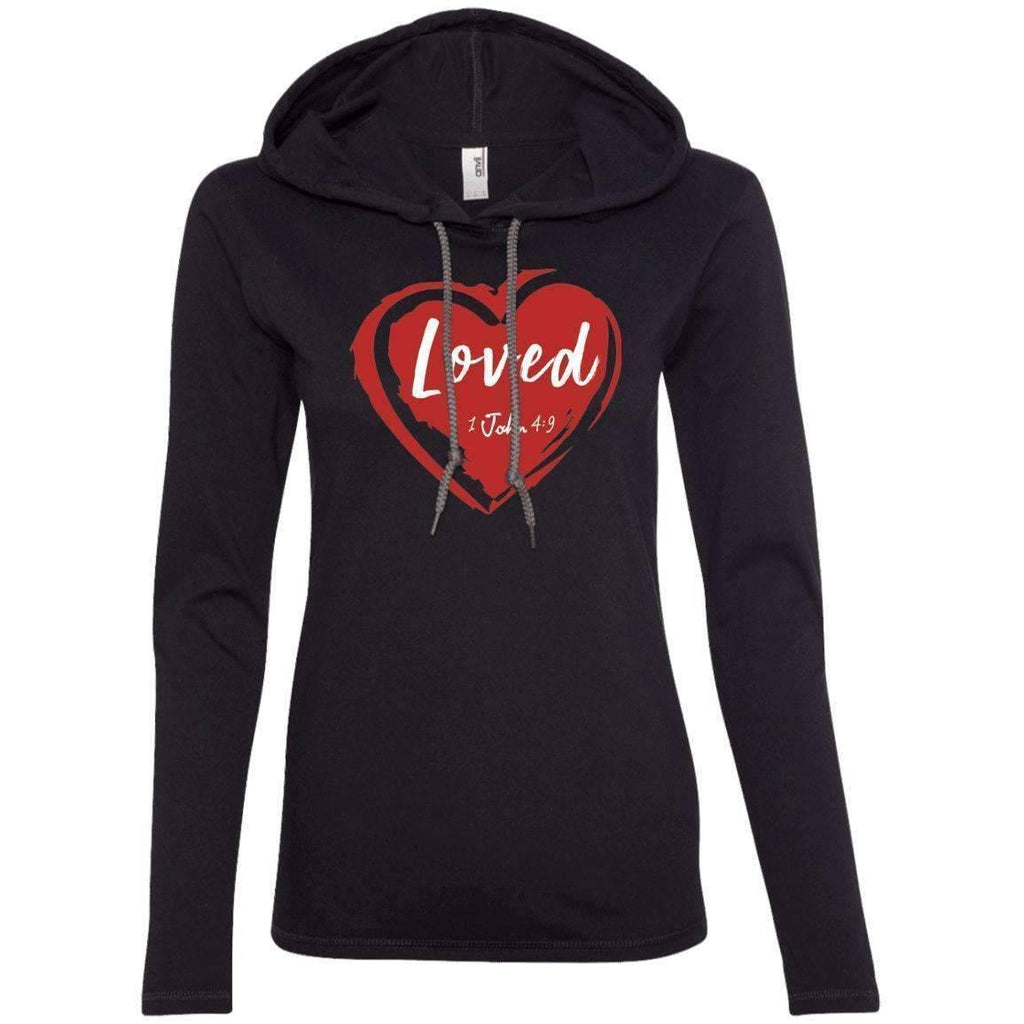 Hoodie - Loved Women's Christian Fitted T-Shirt Hoodie