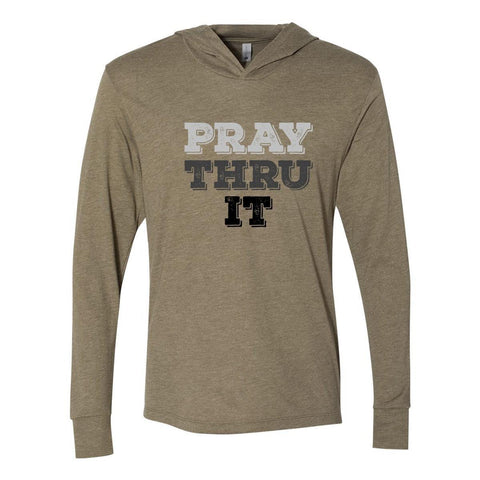 Image of Hoodie - Pray Thru It Cross Christian Tri-Blend Unisex T-Shirt Hoodie