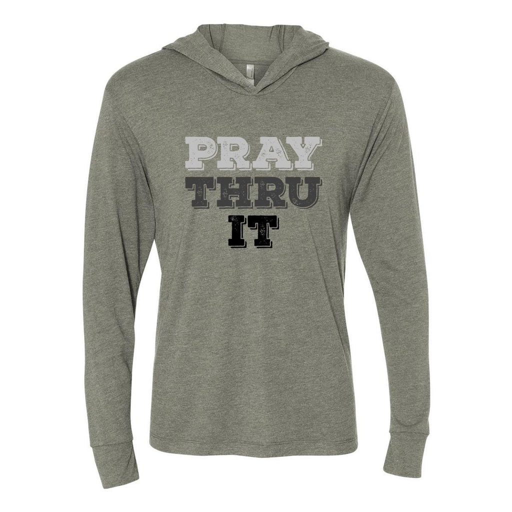 Hoodie - Pray Thru It Cross Christian Tri-Blend Unisex T-Shirt Hoodie