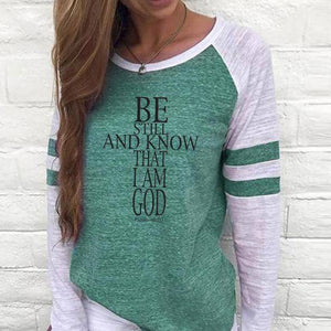Shirt - Be Still Cross Women's Baseball Jersey Christian Semi-Fitted Long Sleeve Shirt