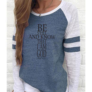 Be Still Cross Women's Baseball Jersey Christian Semi-Fitted Long Sleeve Shirt