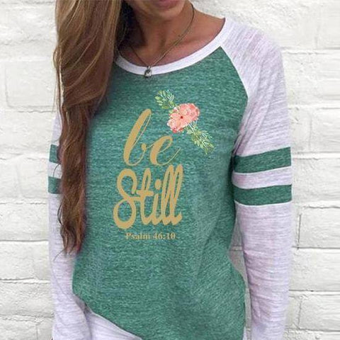Image of Shirt - Be Still Women's Baseball Jersey Christian Semi-Fitted Long Sleeve Shirt