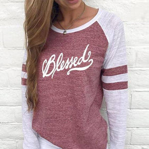 Shirt - Blessed Women's Baseball Jersey Christian Semi-Fitted Long Sleeve Shirt