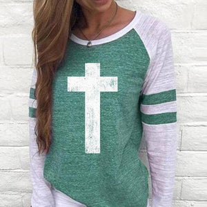 Shirt - Cross Women's Baseball Jersey Christian Semi-Fitted Long Sleeve Shirt