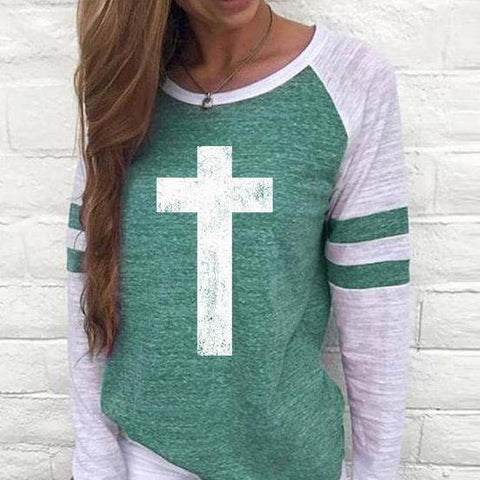Image of Shirt - Cross Women's Baseball Jersey Christian Semi-Fitted Long Sleeve Shirt