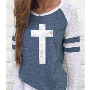 Cross Women's Baseball Jersey Christian Semi-Fitted Long Sleeve Shirt