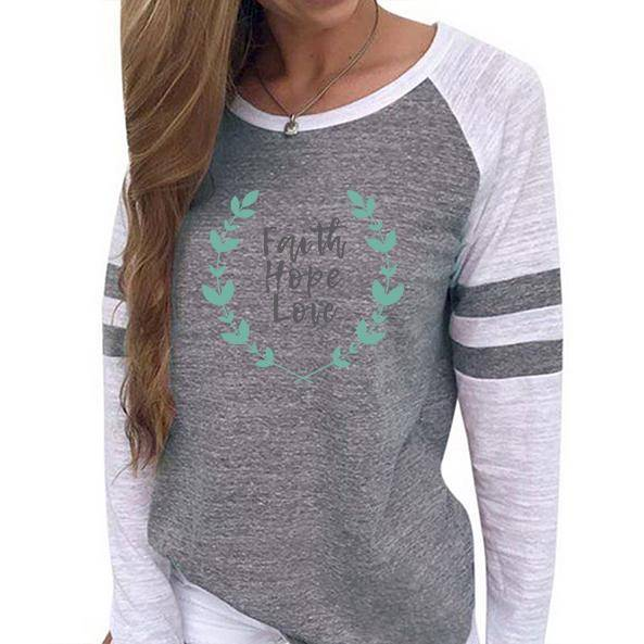 Shirt - Faith Hope Love Women's Baseball Jersey Christian Semi-Fitted Long Sleeve Shirt