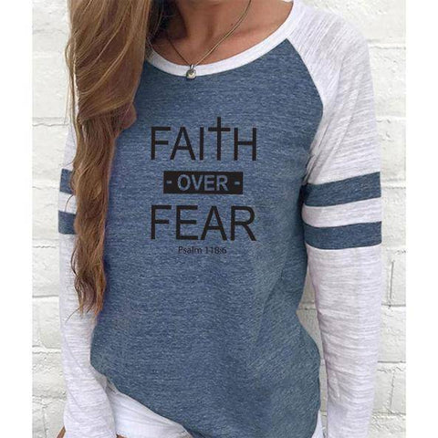 Shirt - Faith Over Fear Women's Baseball Jersey Christian Semi-Fitted Long Sleeve Shirt